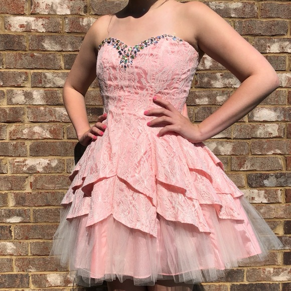 Masquerade Dresses Pink And White Lace Short Formal Dress Poshmark